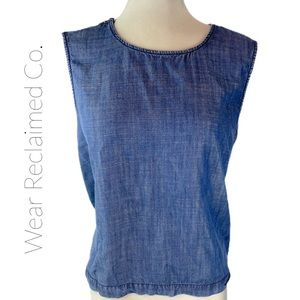 DH3 Denim Chambray Sleeveless CrossOver Back Top